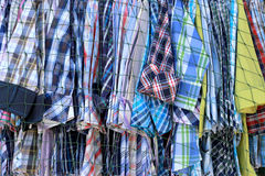 Clothes fashion is hanging clothesline in shop wear. Royalty Free Stock Photos