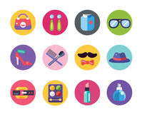 Clothes and fashion icons set. Shopping symbols Royalty Free Stock Images