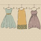Clothes. Fashionable beautiful clothes for young woman. Vector art illustration Stock Photography