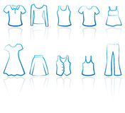 Clothes female icons Royalty Free Stock Photos