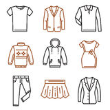 Clothes flat icons. Vector black clothes flat icons on white Stock Photo