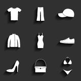 Clothes flat vector icons set Stock Photos
