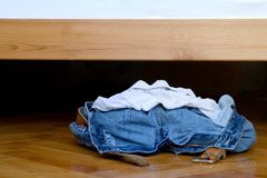 Clothes on the floor Royalty Free Stock Image