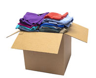 Clothes Folded In Box Shot At Angle Isolated Stock Image