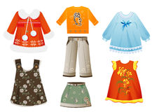 Clothes for girls. Set of seasonal clothes for girls Royalty Free Stock Photography