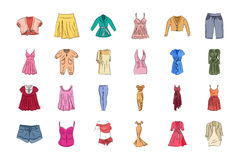 Clothes Hand Drawn Colored Vector Icons 1 Stock Photography