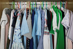 clothes hang in closet royalty free stock image