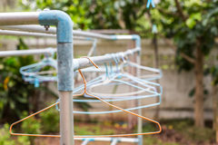 Clothes hang. On Clothes line Royalty Free Stock Images