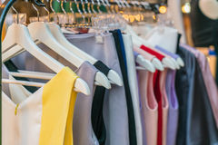 Clothes hang. On a shelf royalty free stock images