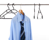 Clothes hanger. With one man's shirts Royalty Free Stock Photos