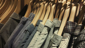 Clothes on hanger. Close-up photograph of clothes on hanger in a boutique Royalty Free Stock Images