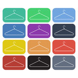 Clothes hanger flat icon set Royalty Free Stock Photography