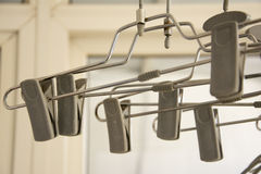 Clothes hanger. Modeling of several indoor clothes racks Royalty Free Stock Images