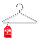 Clothes Hanger with New Collection Tag Stock Photo