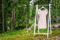 Clothes hanger with a pink dress in the forest. Concept for organic clothes, eco-friendly, ecological fashion stock image