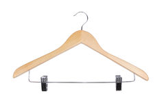 Clothes-hanger. Top view. Wooden clothes-hanger, isolated on white. Top view stock images