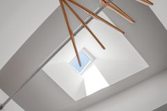 Clothes hanger under skylight. Closet with clothes hanger under a skylight window royalty free stock photo
