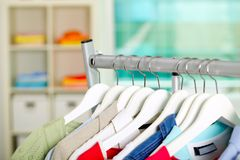 Clothes on hangers Stock Photography