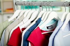 Clothes on hangers Stock Image