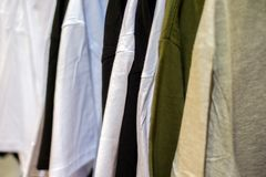Clothes on hangers. Close up view Royalty Free Stock Photography