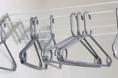 Clothes Hangers. Empty Clothe's Hangers on a clothes rack royalty free stock images