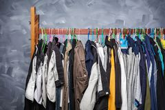Clothes hangers hung by clothes Royalty Free Stock Image