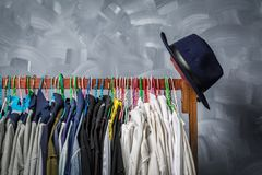 Clothes hangers hung by clothes Stock Image