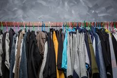 Clothes hangers hung by clothes stock photo