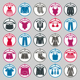 Clothes on a hangers icon set, fashion. Royalty Free Stock Images