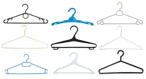 Clothes hangers isolated set on white Stock Photo