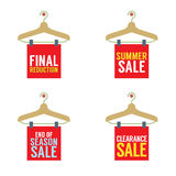 Clothes Hangers With Sale Tag Stock Photo