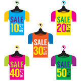 Clothes Hangers With Sale Tag Royalty Free Stock Photo
