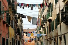 Clothes hanging above the street in Venice. Royalty Free Stock Images