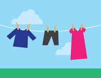 Clothes Hanging Clothesline Stock Photography