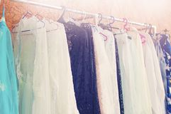 Clothes hanging on a hanger royalty free stock photography