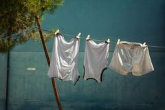 Clothes hanging on line Stock Photography
