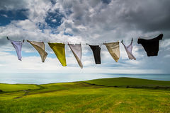 Clothes hanging on line Royalty Free Stock Photography