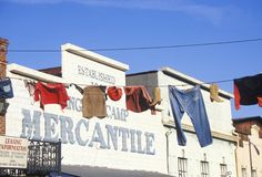 Clothes hanging on line outside Mercantile in Historic Angels camp, Gold Rush town, CA Stock Photo