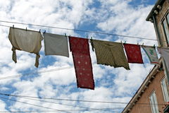 Clothes hanging out to dry Royalty Free Stock Photos