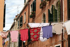 Clothes hanging out to dry Stock Images
