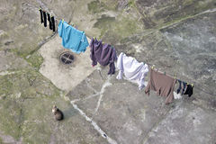 Clothes hanging out to dry  with cat Royalty Free Stock Images