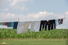 Clothes hanging outside amish house in usa Royalty Free Stock Image
