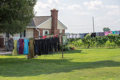 Clothes hanging outside amish house in usa Royalty Free Stock Photo