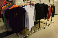 Clothes hanging on the rack display photo taken in Jakarta Indonesia Royalty Free Stock Photo