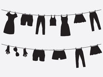 Clothes hanging on the strings Stock Photo