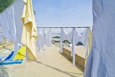 Clothes hanging to dry stock image