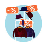 Clothes and a hat in the store Royalty Free Stock Image