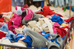 Clothes heap in store Royalty Free Stock Image