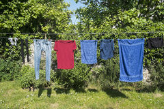 Clothes hung out Royalty Free Stock Photography