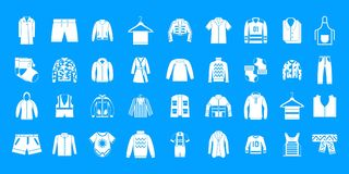 Clothes icon blue set vector. Clothes icon set. Simple set of clothes vector icons for web design isolated on blue background Stock Photos